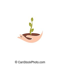 Isolated abstract natural logotype. Green color plant in human hand logo. Sprout in palm icon. Gardening sign. Growth and development symbol. Vector nature protection illustration.