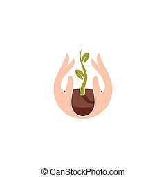 Isolated abstract natural logotype. Green color plant in human hands logo. Sprout in palms icon. Gardening sign. Growth and development symbol. Vector nature protection illustration.