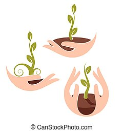 Isolated abstract natural logotype set. Green color plant in human hands logo collection. Sprout in palms icon. Gardening sign. Growth and development symbol. Vector nature protection illustration.