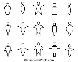 abstract people linear icons