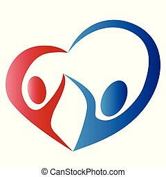 abstract people love heart logo