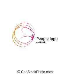 Isolated abstract pink color human body silhouette with circles logo on white background vector illustration.