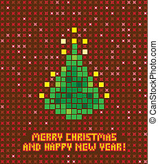 isolated abstract pixel christmas tree illustration