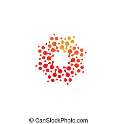 Isolated abstract round shape orange and red color logo, dotted stylized sun logotype on white background vector illustration
