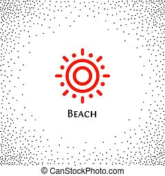 Isolated abstract round shape orange color logo, sun logotype vector illustration on a background of dots
