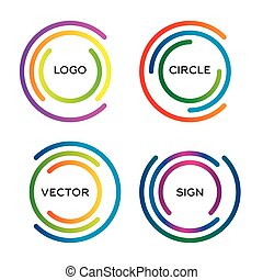 Isolated abstract round vector logo set. Outlined circular colorful logo group.