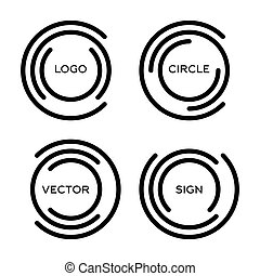 Isolated abstract round vector logo set. Outlined circular logo collection.