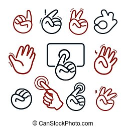 Isolated abstract social network logo set. Human hands and fingers logotypes.Website buttons collection.Ok,peace,give five,pointing finger,fist signs. Victory, hello symbol. Vector illustration.