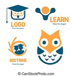 Isolated abstract studying vector logo set. Cartoon owl character logotypes collection. Education icons. School and university emblems.