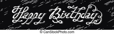 Isolated abstract white color happy birthday writing on black background. Handwritten calligraphic font. Greeting card element. Anniversary celebration design. Vector illustration.