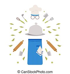 Isolated accessories of restaurant chef, cook uniform, vector illustration