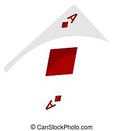 Isolated ace of diamonds on a white background - Vector
