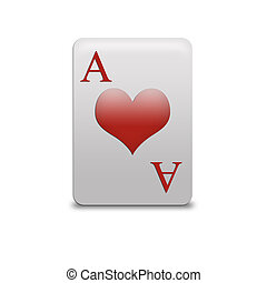 Isolated ace of hearts playing card