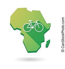 Africa continent map icon with a bicycle