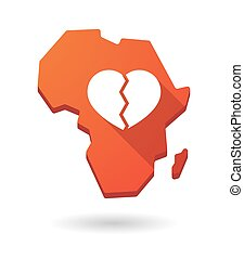 Africa continent map icon with a heart