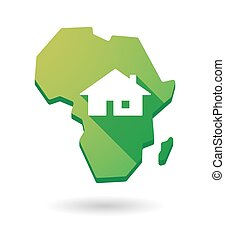 Africa continent map icon with a house
