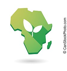 Africa continent map icon with a plant