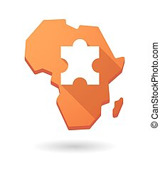 Africa continent map icon with a puzzle piece