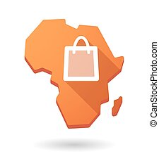 Africa continent map icon with a shopping bag