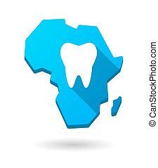 Africa continent map icon with a tooth