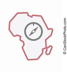 Isolated Africa map with a compass