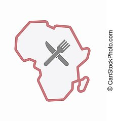 Isolated Africa map with a knife and a fork
