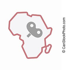 Isolated Africa map with a toy crank - Illustration of an...