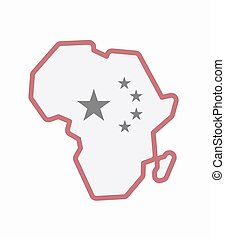 Isolated Africa map with  the five stars china flag symbol