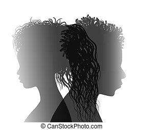 Isolated African American couple silhouette. Divorced man and woman. Divorce concept. End of the wedding. Separation between groom and bride