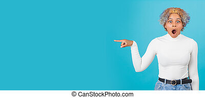 isolated african american girl or woman pointing