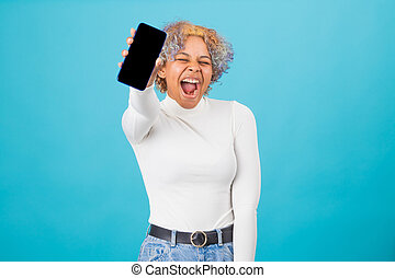 isolated african american young girl with mobile phone