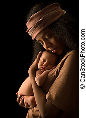 Isolated African Mother with baby