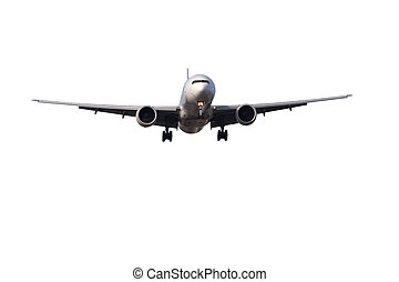 isolated aircraft - large passenger jet on final approach to...