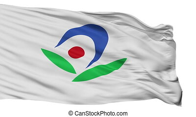 Isolated Akiruno city flag, prefecture Tokyo, Japan -...