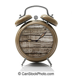 alarm clock with wooden dial on white background