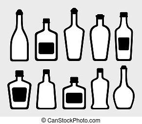 isolated alcohol bottles set