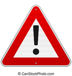 Isolated Alert Triangle Sign - Black exclamation mark in red...