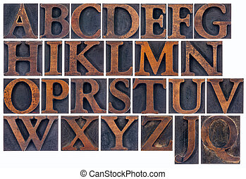 isolated alphabet in wood type - complete English alphabet...