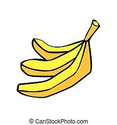 isolated., amarillo, fruta, plano de fondo, blanco, plátano...