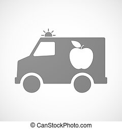 Isolated ambulance icon with an apple