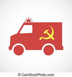 Illustration of an isolated ambulance icon with the communist symbol