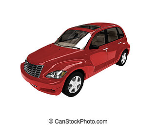 isolated american red car front view