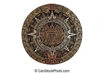 Isolated ancient Aztec calendar