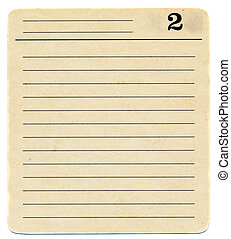 isolated ancient index card paper background with number two