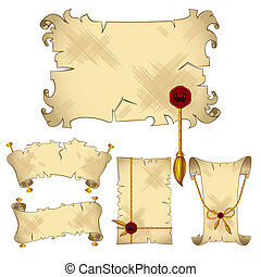 Ancient old parchment scroll banners with gold royal details, isolated on the white background