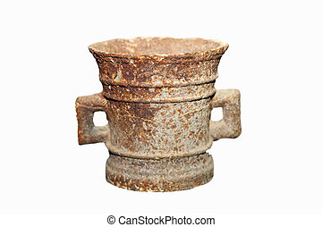 isolated ancient rusty vase