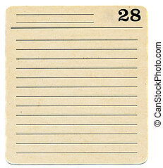 isolated ancient used index card paper with lines background