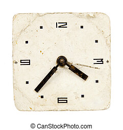 isolated and grunge vintage clock-face