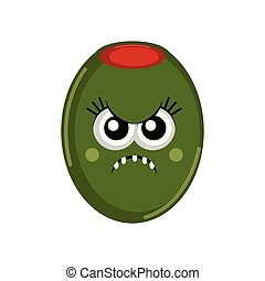Isolated angry olive cartoon