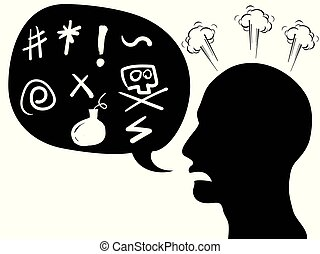 angry person head with speech bubble